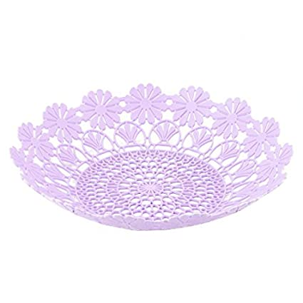 DealMux Plastic Home Kitchen oco Out Flor Borda Design Fruto Vegetable Basket Placa Bandeja roxo Luz