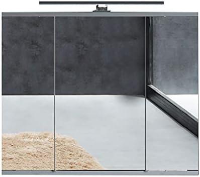 フルミラーバスルームミラーキャビネットLEDライト付き壁食器棚棚節約スペース付きモダンなバスルーム装飾家具収納食器棚浴室ミラーキャビネット60 * 65 * 14