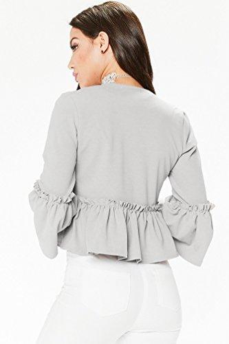 Maniche Cappotto Wanyang Autunno Corto Donna Lunghe Inverno Grigio Moda Cardigan Elegante Blazer Giacca Classico E nnxzHqrWI