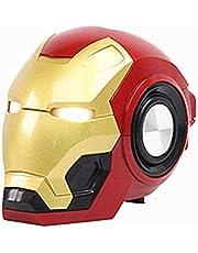 Iron Man Bluetooth Speaker, Mini Subwoofer Draadloze Speakers 360 ° Hifi Surround Sound Double Horn Fm Radio Eyes Glow, Voor Auto Iphone Ipad Laptop(Color:Rood)