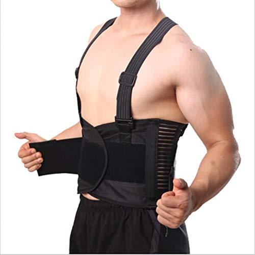 (Breathable Men Back Support Brace Posture Corrector Pain Belt Back Corset Shoulder Straps Lumbar Belt)