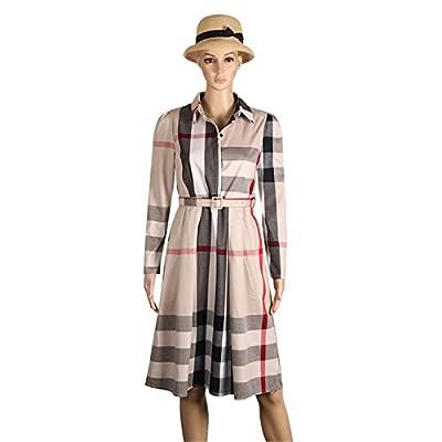 Tammy Lynch Long-Sleeve Women Dress Robe Winter Aline Plaid Dress Casual Basic Shirt Dresses