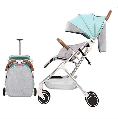 YBL Lightweight Four Rounds Urban Baby Strollers Folding Newborn and Toddler Girls boy Baby Carriage for 0-4 Years (Green)