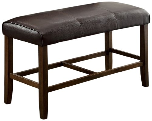 Furniture of America Ingrid Leatherette Counter Height Dining Bench, Dark Brown
