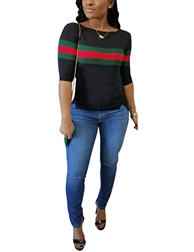 Women's Casual Ribbed Ribbon Stripe Patchwork Half Sleeve T-Shirt Tops Black -