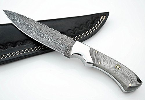 Whole Earth Supply Drop Point Damascus Hunting Knife with Wh