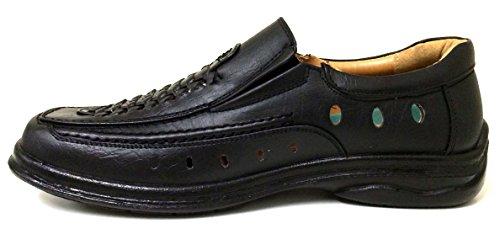 Tan Casual Slip Shoes Sandals Loafer Black Dress on Mens Closed Gores Toe Huarache Black Elastic A1V2751B PFw6TqU