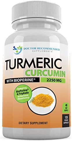 Turmeric Curcumin – 2250mg d – 120 Veggie Caps – 95 Curcuminoids with Black Pepper Extract Bioperine – 750mg Capsules – Most Powerful Turmeric Supplement with Triphala