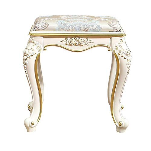 ZDY Vintage Dressing Stool/Piano Chair/Makeup Seat/Square Footstool/Padded Bench Chair, Resin Stool Frame/Upholstered, for Dressing Room/Living Room/Bedroom.