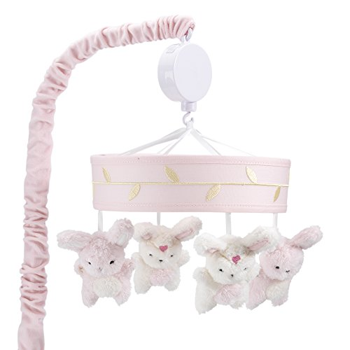 Lambs & Ivy Confetti Heart/Bunny Musical Mobile, Pink/Gold
