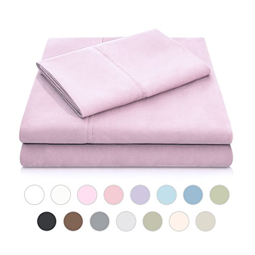 Woven Double Brushed Microfiber Super Soft Luxury Bed Sheet Set - Wrinkle Resistant - Twin Extra Long Size - Blush (Blush Xl Twin Sheets)