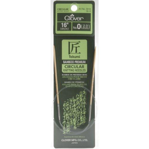 - Clover Bamboo Circular Knitting Needles Takumi, 16-Inch Size 0