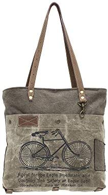 Amazon.com: Myra Bags Green Bicycle Upcycled Canvas Tote Bag ...