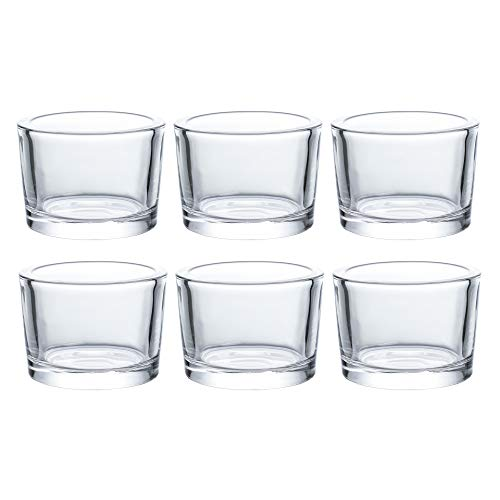 D3.3 X H2.4 Heavy Clear Chunky Glass Votive Candle Holders Set of 6 - Clear Tealight Candle Holder Bulk - Ideal for Wedding Centerpieces,Party & Home Decor ()