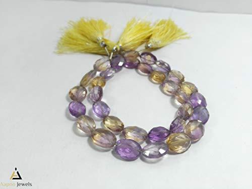 (1 Strand Natural Ametrine Loose Beads Strand, 10x14mm 8 Inch Faceted Oval Ametrine Beads, Ametrine Beads Necklace, Jewelry Making Ametrine Beads, Knotted Ametrine Necklace)