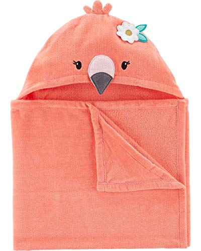 Carter's Baby Unisex 100% Cotton Terry Hooded Bath Towel, Flamingo ()