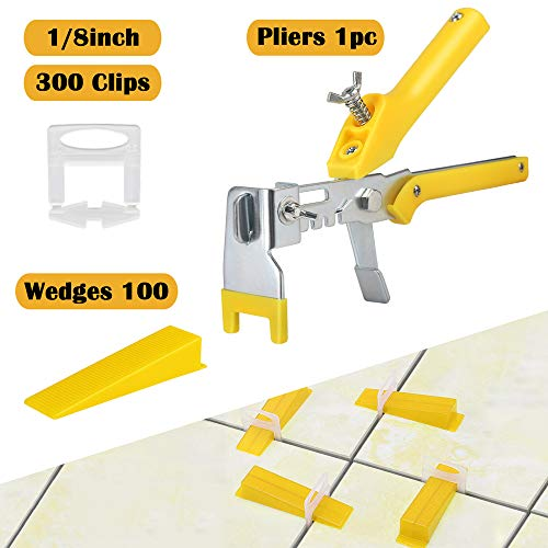 Tile Leveling System Kit 1/8 inch with Pliers, 300pcs Tile Spacer Clips, Tile Kits, Reusable Wedges for Floor, Wall Tile Leveler Tools