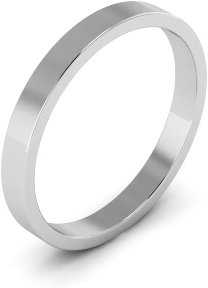 14K White Gold mens and womens plain wedding bands 2.5mm flat