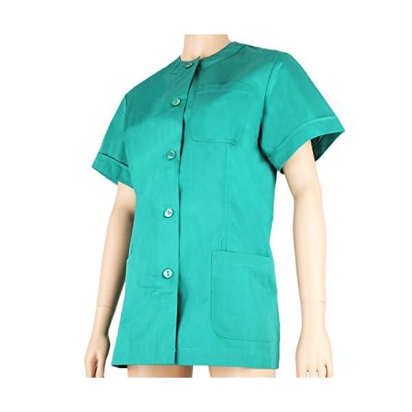 MISEMIYA - Casaca MÉDICA Doctora Enfermera con BOTÓN Cuello Redondo Uniforme Laboral Veterinaria Sanitarios - Ref.831 3