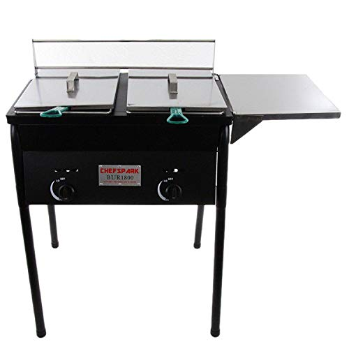 Chefspark Outdoor Two Tank Fryer, 2 Baskets & Stainless Steel Oil ()