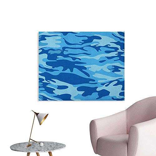 Anzhutwelve Camouflage Wall Paper Abstract Camouflage Costume Concealment from The Enemy Hiding Pattern Wall Poster Pale Blue Navy Blue W48 xL32 ()