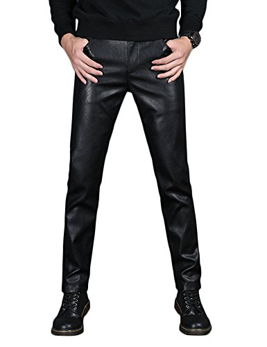- Idopy Men`s PU Slim Fit Five Pockets Washed Motorcycle Faux Leather Pants Jeans Black 36 W772