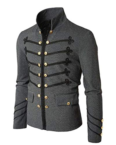 Mens Retro Coat Double-Breasted Costume Vintage Steampunk Uniform Jacket with Pockets Adult Punk Grey M ()