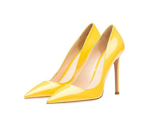 Guoar Dames Stiletto Big Size Schoenen Puntige Teen Dames Stevige Pumps Voor Werk Prom Dress Party B-geel Patent