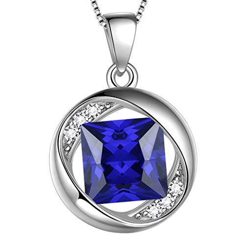 (Aurora Tears September Birthstone Necklaces Women 925 Sterling Silver Birthday Pendant Girls Birthday Jewelry Dating Gift DP0029S)