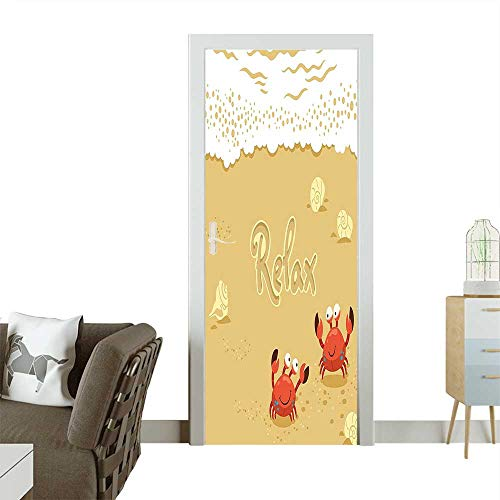 cals Funny Summer Card with Cute Crabs on The Beach Holiday Theme Print Sand Self Adhesive Door DecalW38.5 x H77 INCH ()