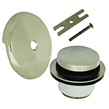 DANCO Universal Bath Tub Touch-Toe Push Button Bath Drain Trim Kit with Overflow Plate, Brushed Nickel, 1-Pack (89237)