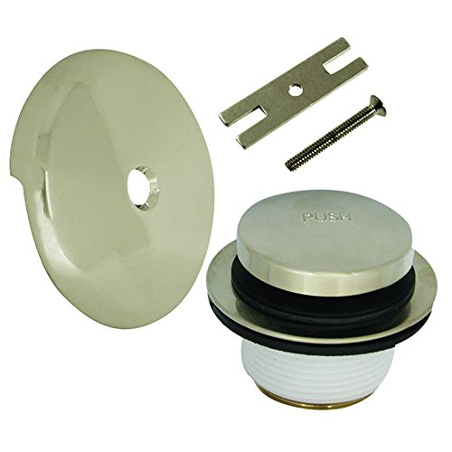 - DANCO Universal Bath Tub Touch-Toe Push Button Bath Drain Trim Kit with Overflow Plate, Brushed Nickel, 1-Pack (89237)