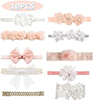 10 Pcs Baby Girls Headbands Super Stretchy Headband and Bows for Newborn Lace Petals Flower Hair Accessories B