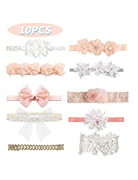 10 Pcs Baby Girls Headbands Super Stretchy Headband and Bows for Newborn Lace Petals Flower Hair Accessories Baby Girl Gift