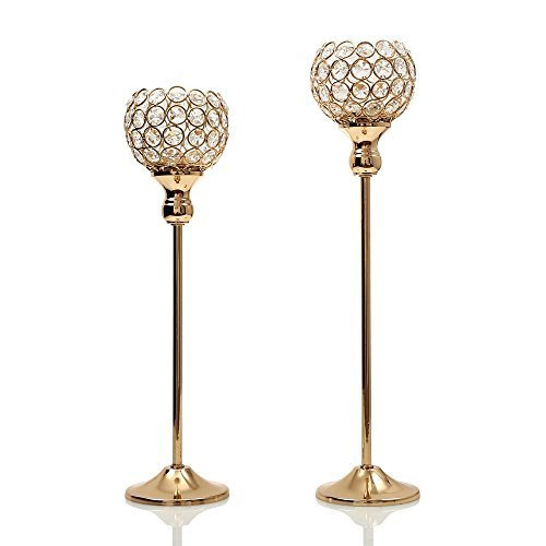 VINCIGANT Gold Crystal Tea Light Stand Candle Cup Holder Pillar for Wedding Coffee Table Decorative Modern Centerpiece Candelabra,Mothers Day Home Decor Accent Set of 2 Coffee Cup Candles