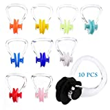 XCOZU Swimming Nose Clip, Kids Childrens Adult 10 Pieces Silica Gel Swim Nose Clip Plug Protector for Swimming