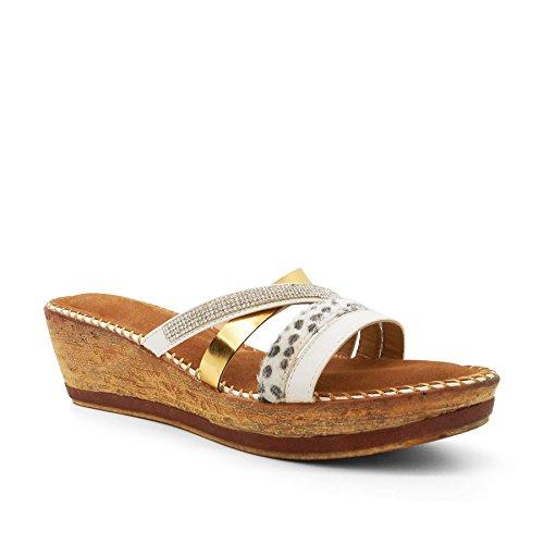 Footwear London Semelle femme Blanc Blanc compensée qPadwxPF