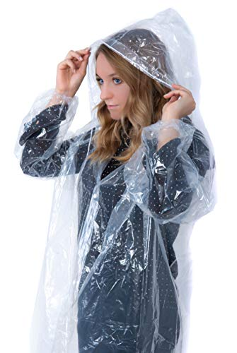 (Suniry RAIN Poncho | Clear Disposable Adult Raincoat for Mens & Womens with Hood | Emergency Gear Lightweight Ponchos | 6)