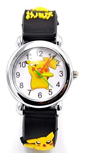 Pokemon Kids Watch Pikachu Watch 3D Silicone Wristwatch Gift Set for Kids, Boys or Girls (Black)