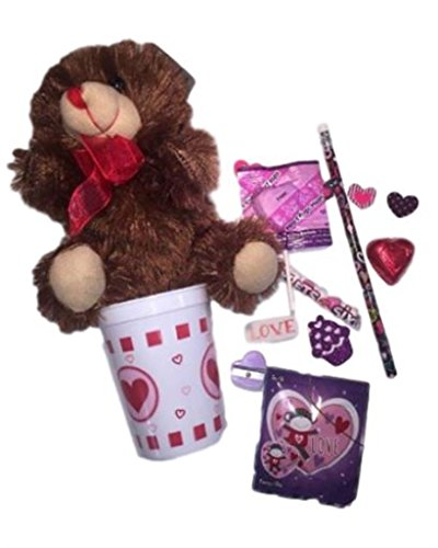 Valentines Day Gifts For Kids! Chocolate-Scented Fluffy Brown Teddy Bear w/Valentines Day Themed Favor Candy Cup Bundle!! Perfect Valentines Day Gifts For Her! (Valentine Day Erasers)