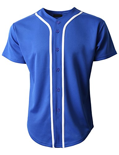 Royal Blue Jersey - Hat and Beyond Mens Baseball Jersey Button Down T-Shirts Plain Short Sleeve 1UPB0001 (2X-Large, 1pu01_Royal Blue/White)
