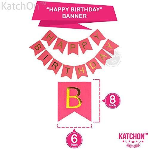 18th BIRTHDAY BANNER POMPOM DECORATIONS Hot Pink Happy Birthday