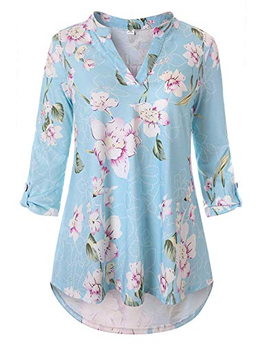 Cucuchy Womens Pullover,Ladies Casual Weekend Clothes Three Quarter Sleeve Shirts V Neck Mandarin Collar Tunics Floral Tops Pretty Elegant Blouses Henley Frumos Tunic Tops Cozy Textured Dust Blue XL