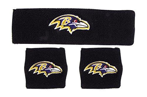 NFL Baltimore Raven Wristbands & Headband Set, Black, One (Baltimore Ravens Band)