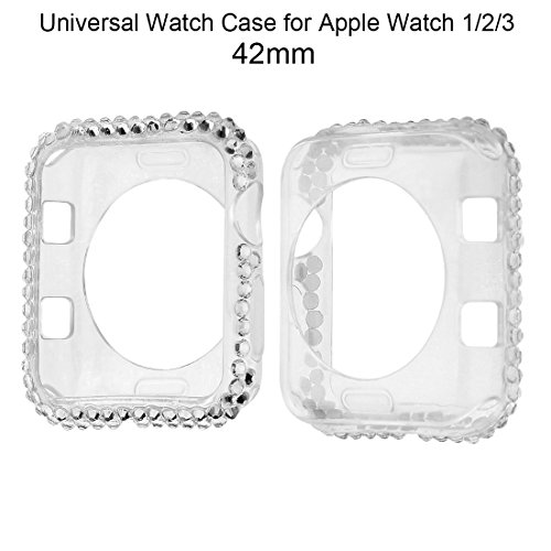 Crazybravo Bumper Case for Apple Watch 38mm/42mm,Universal Crystal Diamond TPU/Silicone Watch Case for Apple Watch/iWatch Series 1/2/3 (White, 42mm) (Diamond Crystal Protector)