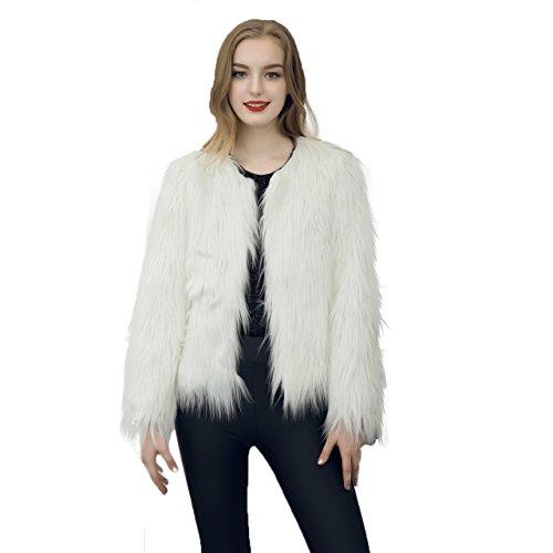 White Faux Fur Jacket - 8