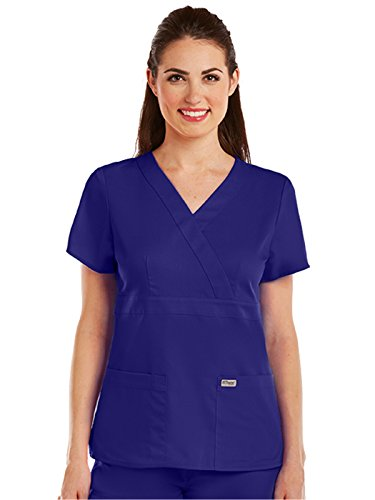 Grey's Anatomy 4153 Women's Mock Wrap Top Purple Rain M
