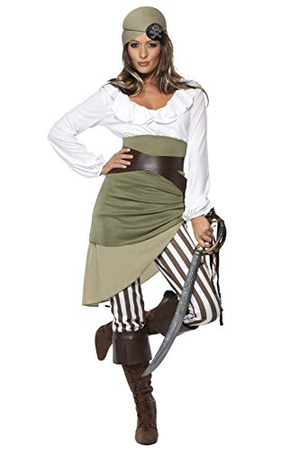 Smiffys Women's Shipmate Sweetie Costume, Top, Skirt, Leggings, Bandana, Belt and Boot cuffs, Pirate, Serious Fun, Size 10-12, 33353 ()