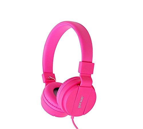 Kids Headphones Girls,On-Ear Comfortable Foldable Headphones for Kids,Lightweight Stereo Kid Headphones for Girls,Childrens Headphones for Cellphone PC Laptop Tablet MP3/4(Pink)