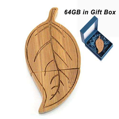 (Wooden USB Flash Drive 64GB, Aretop USB2.0 Cute Cartoon Miniature Wooden Leaf Shape USB Memory Stick Pendrive for Computer 64GB Thumb Drive USB Jump Drive Data Storage Business Gift for Girls Ki)
